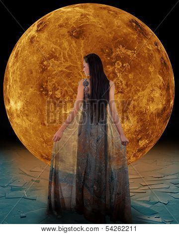 Ice princess in front of a Venus. Elements of this image furnished by NASA.
