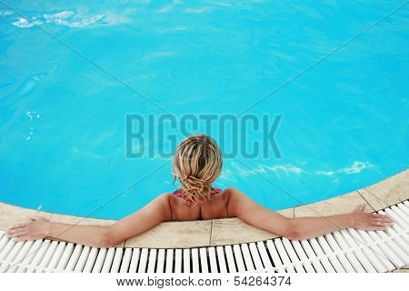 Young Girl In Water Pool
