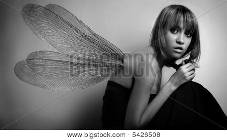 Portrait Of Girl With Wings