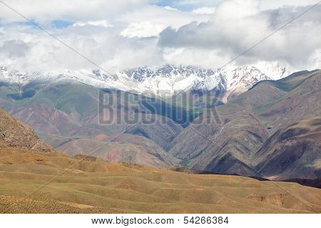 Landscape of arid Tien Shan mountains
