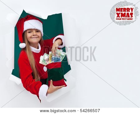 Santa's helper bringing you money for the holiday presents