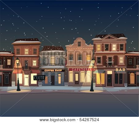 Christmas town illustration. Seamless pattern