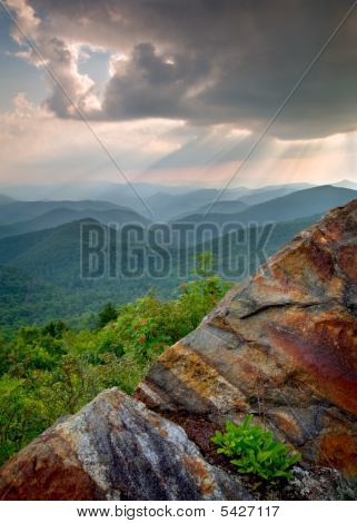 Sun Beams And Rays Over Blue Ridge Mountains Rock