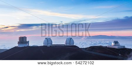 Four Observatories at sunset Hawaii