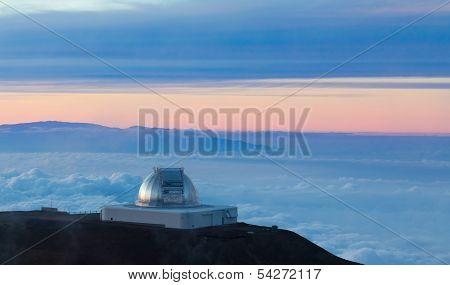 NASA Infrared Telescope Facility at sunset