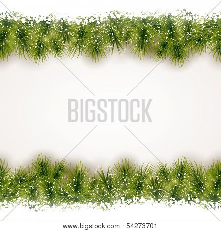 Christmas background with fir border at the top and bottom that will tile seamless horizontally.