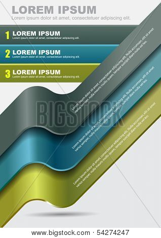 Modern vector abstract background with three steps stripes for content. Can use for brochure, poster, flyer, card, cover and prints.
