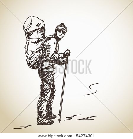 Hand drawn man trekking with big backpack Vector