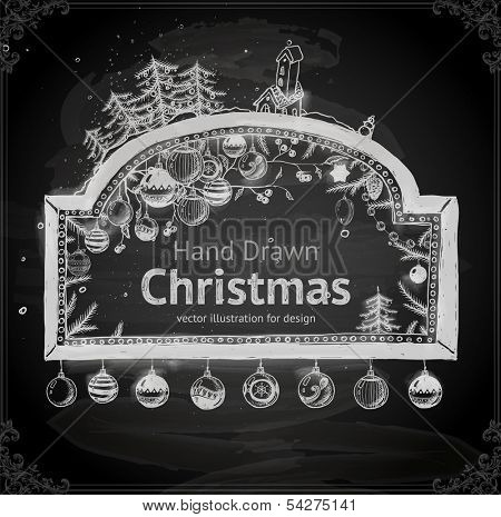 Christmas hand drawn frame for Xmas design. With balls, Christmas tree, toys and fir-cone.