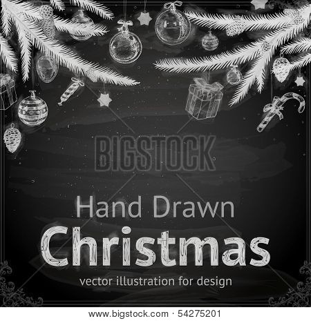 Christmas Tree with Balls and Gifts, vector design. Chalkboard style. Chalk Texture.
