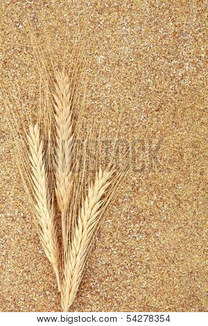 Wheat germ with wheat ears forming a textured background.
