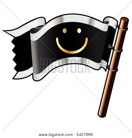 Smiley Emoticon On Pirate Flag