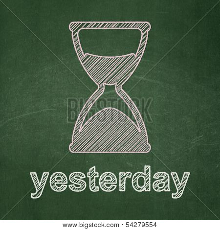 Timeline concept: Hourglass and Yesterday on chalkboard background