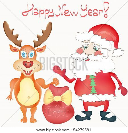 Happy New Year Holiday Greeting Card With Deer And Santa Claus Cartoon Characters With Presents Bag