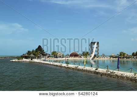 Cucumber Beach amusement park in Belize City