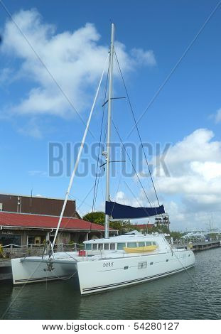 Charter yacht at Cucumber Beach marina in Belize City