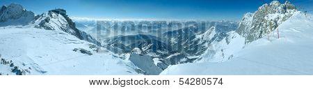 Winter Dachstein Mountain Massif Panorama.