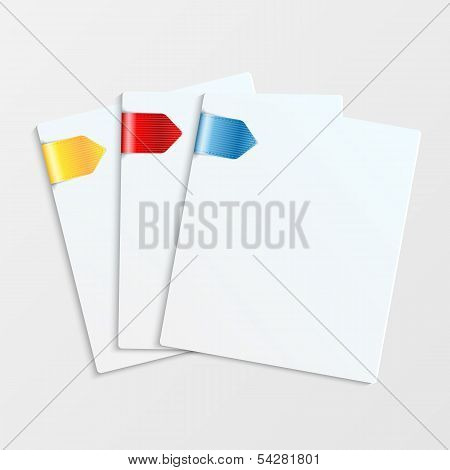 Set Of White Sheets Of Paper With Colorful Bookmarks.paper For Notes.stationery.vector