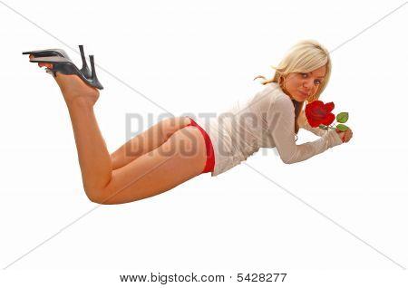 Girl Laying On Floor.