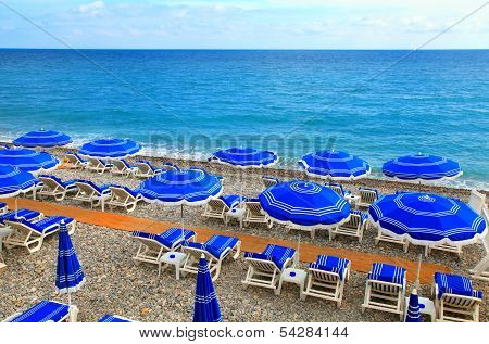 Sunshades On The Beach In Nice,Cote D'azur, France