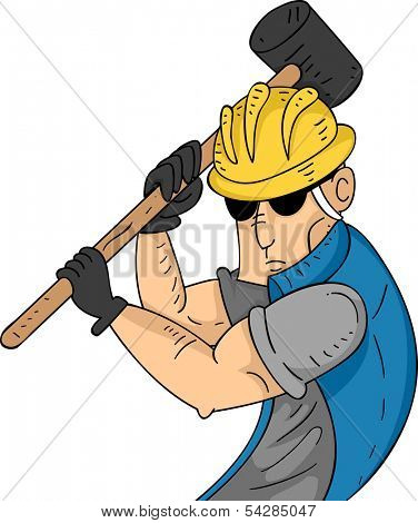 Illustration of a Muscular Construction Worker Swinging a Sledgehammer
