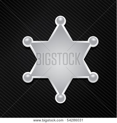 vector silver sheriff star badge on black