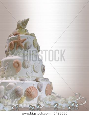 Wedding On The Beach Cake Invitation Seashells