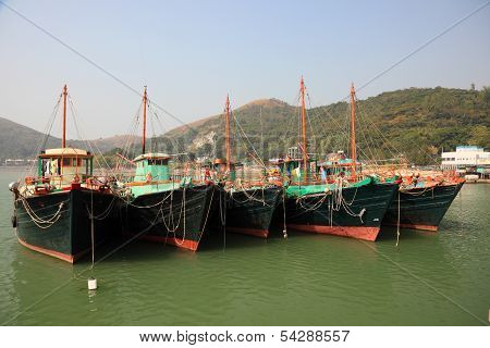 Fishing Boats In Chinese Village