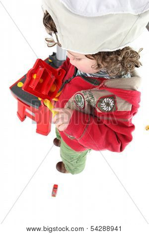 Child pretending to be a tradesperson