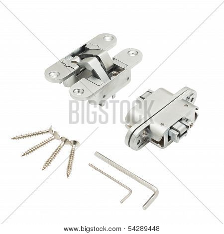 Door hinge isolated on white background