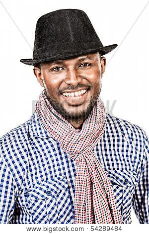 Portrait of a modern african american young man smiling at camers. Isolated over white.