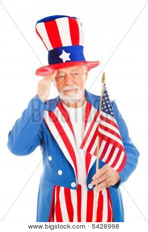 Uncle Sam Salutes America Flag