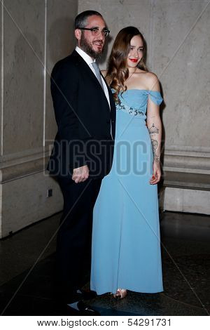 NEW YORK-NOV 21; Actress Jemima Kirke (R) and Michael Mosberg attend American Museum of Natural History's 2013 Museum Gala at American Museum of Natural History on November 21, 2013 in New York City.