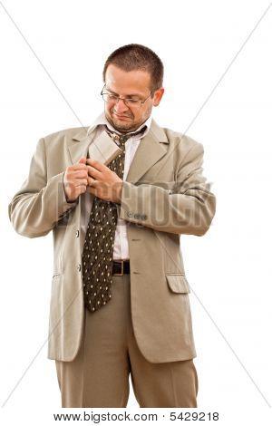 Businessman Take Out A Flask