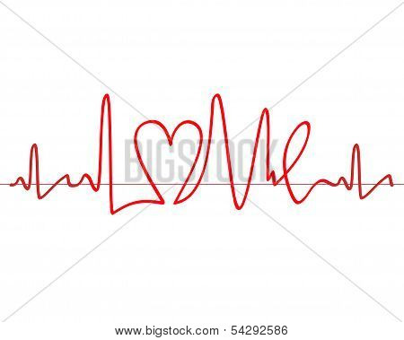 """Word """"love"""" Shape Electrocardiogram Vector On White Background"""