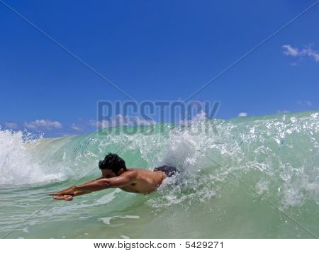 Hawaiian Man Bodysurfs