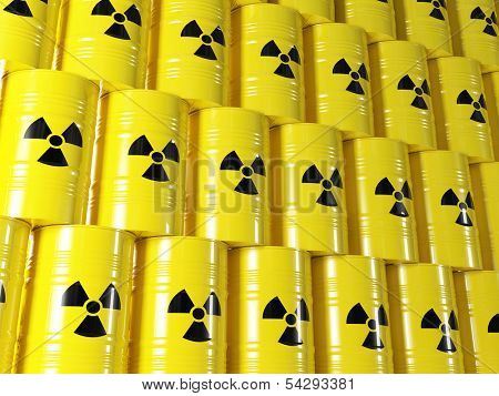 background of 3d yellow barel and radioactive sign