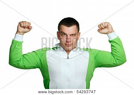 Man Shows Biceps