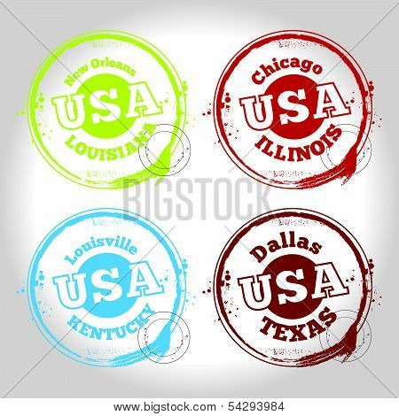 stamp of USA countries