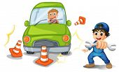 picture of kinetic  - Illustration of a car accident and a mechanic on a white background - JPG