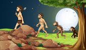 stock photo of ape-man  - Illustration of the evolution of man in the hilltop - JPG