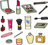 image of nail-design  - Set of 18 cartoon cosmetics for use in your designs. Set includes: blusher, lipstick, eye shadow, mascara wand, makeup brushes, eye liner pencil, nail varnish, lip gloss, hand cream, perfume, baby bud, and nail file.