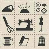 stock photo of sewing  - sewing icons  - JPG