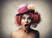 picture of circus clown  - Surprised Clown - JPG