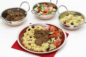 stock photo of kadai  - Beef madras curry served with saffron - JPG