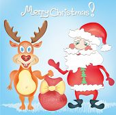 Merry Christmas Holiday Greeting Card With Deer And Santa Claus Cartoon Characters With Presents Bag