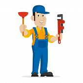 stock photo of plunger  - Illustration plumber holds plunger and adjustable spanner - JPG