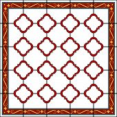 Medieval Style Design Window Or Tile With Fleur De Lys Border
