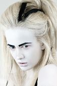 image of wraith  - Portrait of mysterious albino woman with black eyebrows - JPG