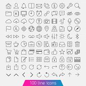 100 Line Icon Set. t-shirt
